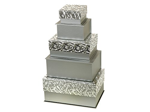 Indian Handicrafts Decorative Gift Boxes, Shimmery Silver by Indian Handicrafts