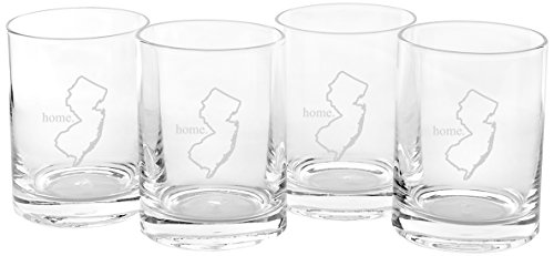Cathy's Concepts Personalized Home State Drinking Glasses, Set of 4, New Jersey