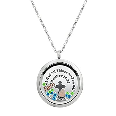 Top With God All Things Are Possible Stainless Steel Locket Pendant Floating Charms Necklace for cheap