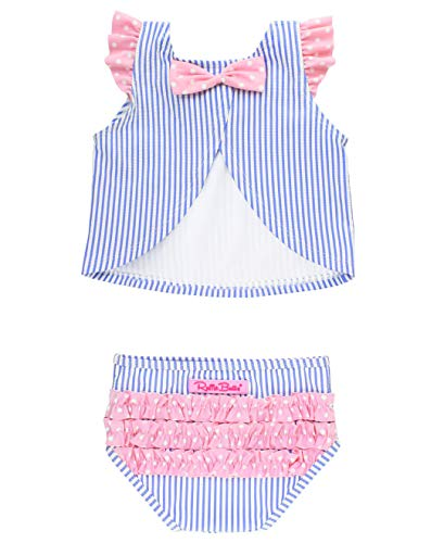- RuffleButts Baby/Toddler Girls Blue Seersucker 2 Piece Swimsuit with Open Back Top - 12-18m