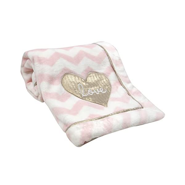 Lambs & Ivy Baby Love Minky Blanket – Pink/White with Gold Love Heart