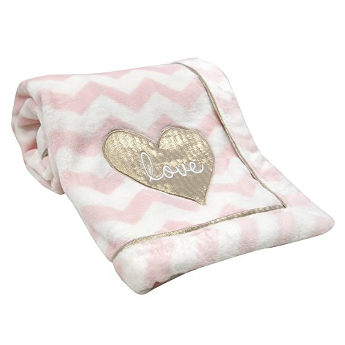 Lambs & Ivy Baby Love Minky Blanket - Pink/White with Gold Love Heart ()