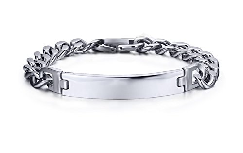 UPC 762470867902, Plain Stainless Steel ID Bracelet with Link Chain (Free Engraving),High Polished,Length 220mm