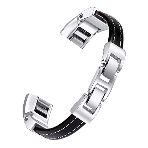 "bayite For Fitbit Alta and Alta HR Bands, Leather Bands Adjustable Metal Buckle Black Large 6.7"" - 8.1"""