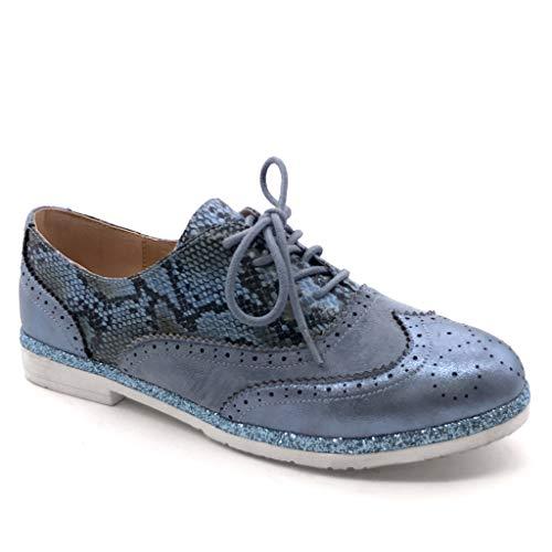 87f5f9b3d AngkorlyZapatillas Ancho Azul Serpiente Brillantes Tennis Perforado Cm  Zapato Mujer Tacón 5 2 Derby Moda Impresión ...