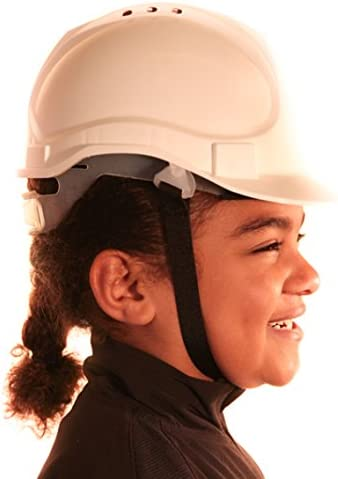 Kids Hard Hat Safety Helmet with Chin Strap One Size Adjustable Suitable for 4-12 Years White Truck Driver Children