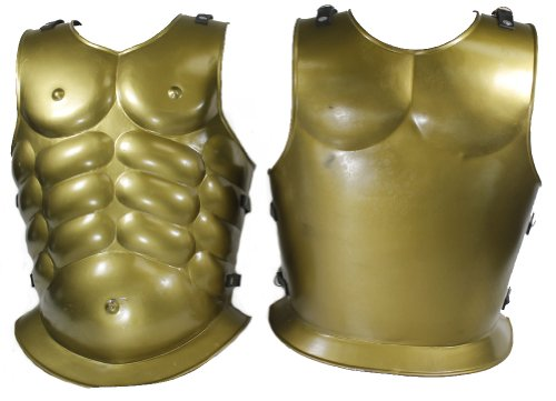 RedSkyTrader Mens Steel Greek God Chestplate Armor One Size Fits Most Gold]()
