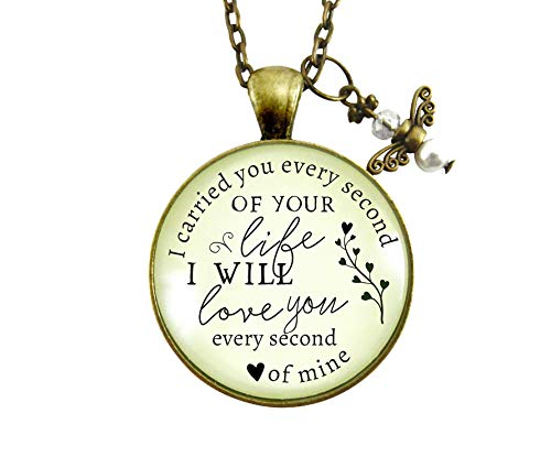 "24"" I Carried You Every Second of Your Life Miscarriage Necklace Baby Loss Angel Charm Remembrance Memorial Jewelry"