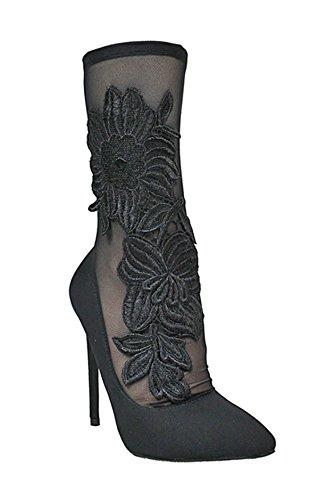 Stockings w Bootie Stiletto Xaya16B Pointy amp; Liliana Mesh Black Stretchy Toe Bootie Crochet qXFWT4fwT