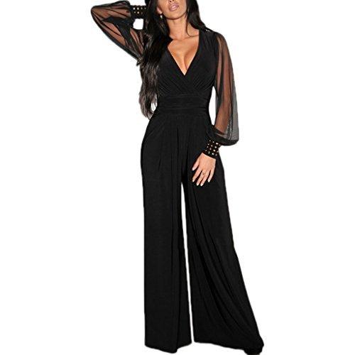 Opinioni per MYWY- Tuta donna elegante maniche lunghe jumpsuit 85593df1282