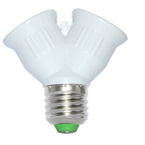 1 Socket E27 to 2 Socket E27 Base Socket Light Bulb Adapter Plug Converter. Socket Splitter for 2 bulbs