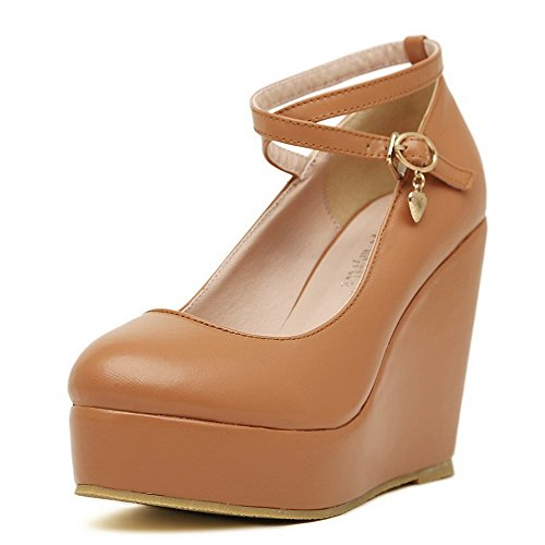 Solid Metal Round Brown Closed Pumps Toe Soft with Wedges VogueZone009 Material Womens High PU Heel x4fvwv