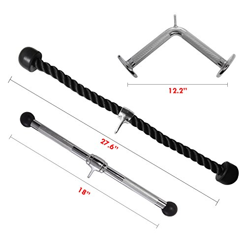 Ivation Lat Machine Accessory Set – Includes Tricep Rope, Pressdown V Bar, Rotating Straight Bar & Cable Attachments for Wide Variety of Tricep & Abdominal Workouts