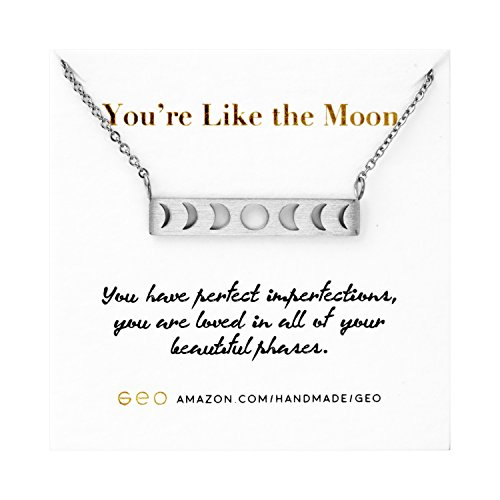 GeoMinimalist Moon Necklace Moon Phase Necklace Inspirational Graduation Gifts For Her 2018 (New Moon Necklace)
