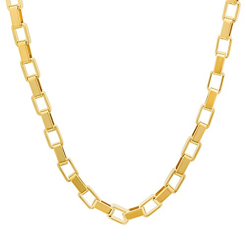 5mm 14k Yellow Gold Plated Smooth Open Squared Box Link Chain , 16