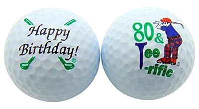 80 & Tee-Riffic Eightieth Birthday Golf Ball Set of 2 Balls and Display Box