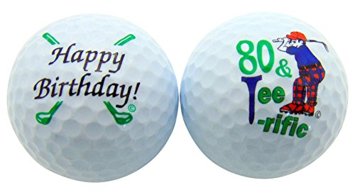 80 & Tee-Riffic Eightieth Birthday Golf Ball Set of 2 Balls and Display Box - Presentaion Box