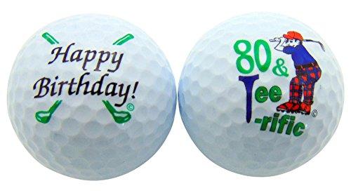 (80 & Tee-Riffic Eightieth Birthday Golf Ball Set of 2 Balls and Display Box)