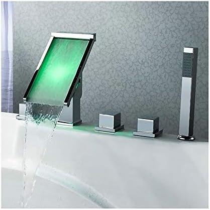 LEDクローム浴槽の蛇口真鍮の滝浴室の蛇口3ハンドル5穴シャワー蛇口セットデッキマウント浴槽タップハンドヘルドシャワーとホースを含める