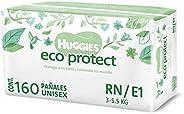 Huggies Eco Protect Pañal Desechable para bebé, Unisex, Etapa Recién Nacido - 1, Caja con 160 Pañales Desechab