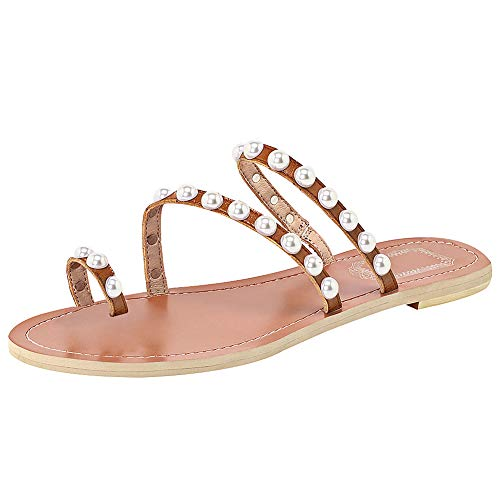 ANUFER Women's Bohemia Pearls Toe Ring Slippers Summer Flat Flip Flops Beach Shoes Brown SN02408-2 US10.5