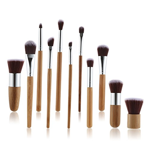 Bohol 11 Pcs Makeup Brush Set Professional Bamboo Handle Premium animal bristle Cosmetics Face Eye Shadow Eyeliner Foundation Blush Lip Powder Liquid Cream Brush for Christmas gift - Animal Free Makeup Brush Powder