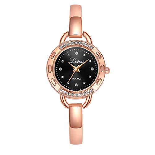 (LUCAMORE Women's Fashion Unique Luxury Diamond Round Dial Stainless Steel Bracelet Ladies Quartz Wrist Watches)