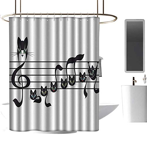 homehot Shower Curtains red and Grey Music Decor Collection,Notes Kittens Cat Artwork Notation Tune Children Halloween Style Pattern,Black Green Blue,W108 x L72,Shower Curtain for Men]()