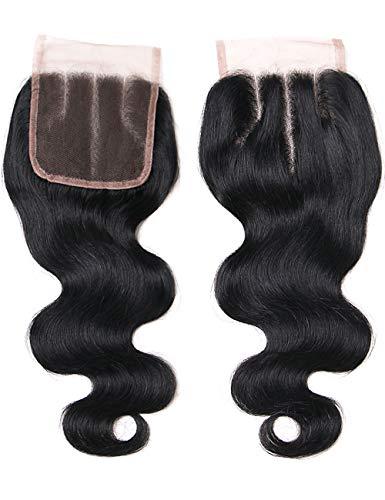 Lanyi 14 inch Brazilian Body Wave Lace Closure Three Part Virgin Human Hair Closure Natural Black 1b 130% Density 4x4 Lace