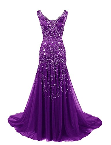 H.S.D Womens Mermaid V Neck Beaded Long Prom Dress Evening Gowns Purple