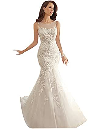 Jj gogo sexy see through lace mermaid train wedding gown for Jj wedding dresses reviews