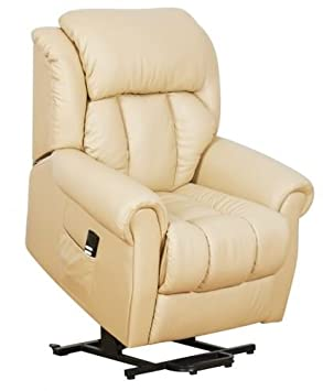 Warminster Dual Motor Leather Riser Recliner Chair Electric Lift Chair Cream