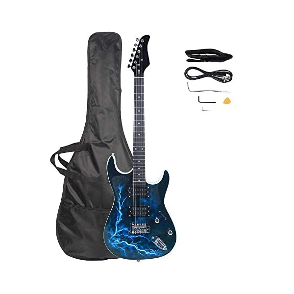 SHENWEI LIU Lightning Style Electric Guitar,for Music Lover,with Power Cord,Strap,Bag,Plectrums (Black & White) 41Zw0xpHFBL