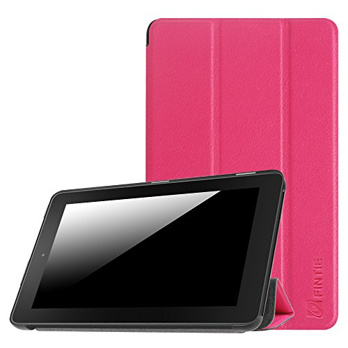Fintie Slim Shell Case for Amazon Fire (Previous 5th Generation, 2015 7 inch) - Super Slim Lightweight Standing Cover, Magenta