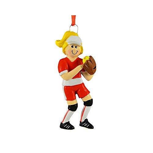 Personalized Softball Girl Christmas Tree Ornament 2019 - Yellow Hair Athlete Stick Score Mush-Ball Kitten Ladies College Player Hobby School Profession Mitt Year - Free Customization (Blonde) (Pitchers Kitten)