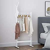 LANGRIA Single Rail Bamboo Garment Rack with 8 Side Hook Tree Stand Coat Hanger and Four Stable Leveling Feet for Jacket, Umbrella, Clothes, Hats, Scarf, and Handbags