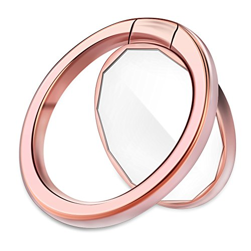 DIGITWHALE Mirror Cellphone Ring Stand Holder, Stylish 360°Rotation 180°Flip Ring Stand Grip Mount For Iphone X 8 7/7 Plus,Samsung Galaxy S8/S7,Ipad -Rose (Rose Finger Ring)