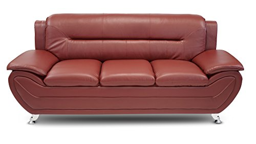 U.S. Livings Anya Modern Living Room Polyurethane Leather Sofa, Loveseat, and Chair Set (3-Piece, Burgundy)