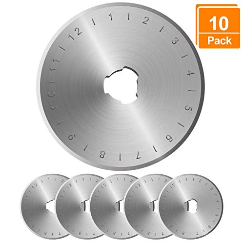 Rotary Cutter Blades 45mm - 10 Pack,Compatible with All 45mm Rotary Cutters Including Fiskars & Olfa,Sharp and Durable