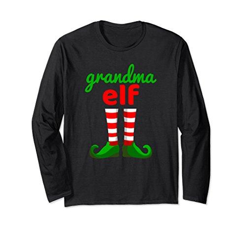 Unisex GRANDMA ELF Christmas T-Shirt   Santa Helper Long Sleeve XL: Black from Funny Elf Family Christmas Shirts 22