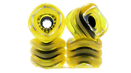 (Shark Wheel Sidewinder 70mm 78A All-Terrain Skateboard Longboard Wheels, Amber)