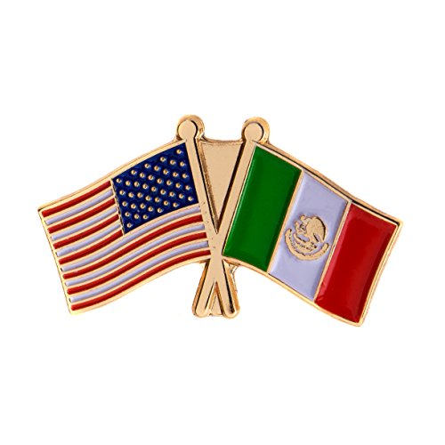 Mexico Country Double Flag Lapel Pin Enamel with United States USA US Made of Metal Souvenir Hat Men Women Patriotic (Double Lapel Pin)