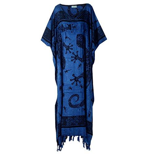 Tropicalsale Women's Blue Gecko Handmade Caftan Kaftan Dress Big Plus Size