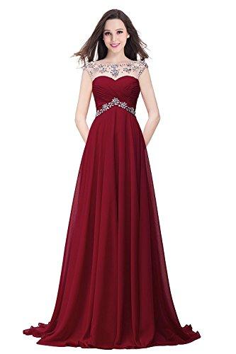 Gr 32 46 Damen Ärmellos Strass MisShow Abschlusskleid Abendkleider Elegant Weinrot Chiffon Ballkleider Lang vSUpqzH