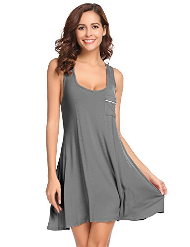 Ekouaer Sleepwear Womens Chemise Nightgown Full Slip Lounge Dress Sexy Lingerie Sleepshirt Grey (Sleepwear Dress)