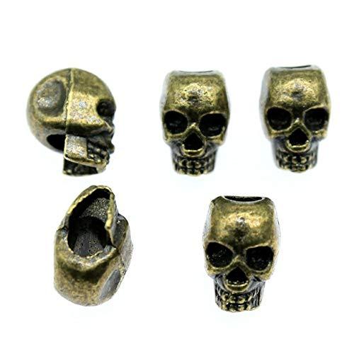 Calvas 5pcs Skull European Big Hole Bead Charm Death Skull Head for DIY Necklace Skull Big Hole Beads Fit Bracelet 12x11mm - (Color: Antique Bronze)