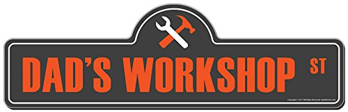- Dad's Workshop Street Sign | Indoor/Outdoor | Funny Home D-cor for Garages, Living Rooms, Bedroom, Offices | SignMission Personalized Gift