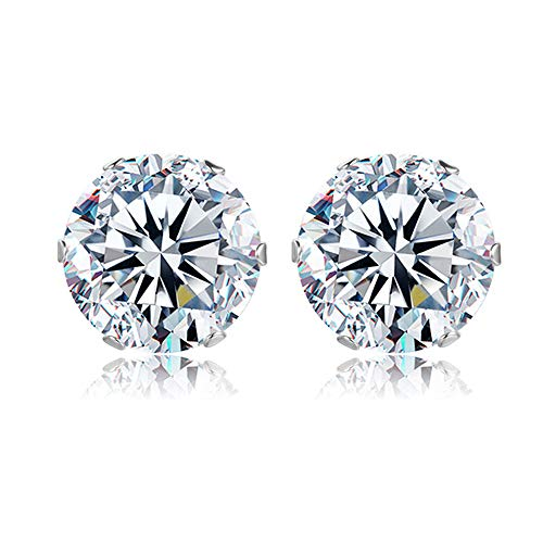 Orisignall 8mm Zircon Stud Earrings 6 Prong Sparkling Quality Platinum Plated Zircon Earrings Classic Accessories for Women and Girls ()