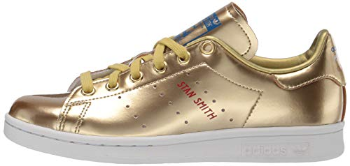 adidas Originals mens Stan Smith Sneaker, Crystal White/Scarlet/Lush Blue, 10 US