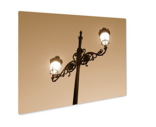 Blue Giclee Floor Lamp - Ashley Giclee Nice City Madrid Capital Of Spain, Wall Art Photo Print On Metal Panel, Sepia, 16x20, Floating Frame, AG5601481